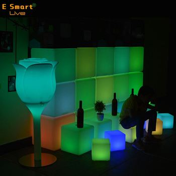 Glowing LED Chair Outdoor And Indoor Color Changing Child LED Cube Seat 20cm