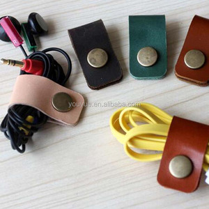 Headphone Earphone Cable Tie Cord Organizer Wrap Winder Holder Leather