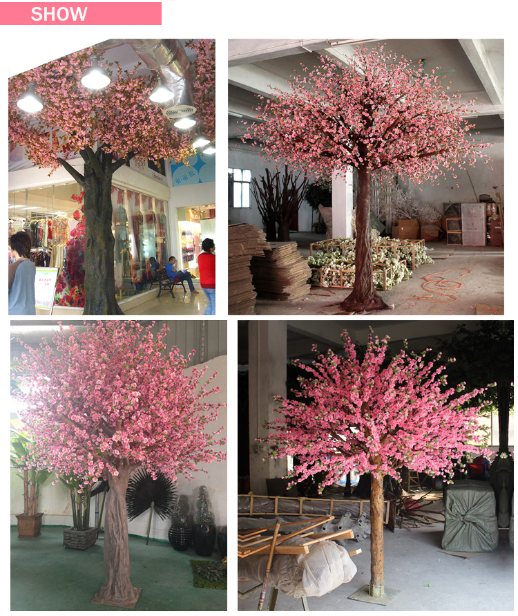 Wedding Trees For Sale: Guangzhou Wedding Decoration Pink Artificial Silk Cherry