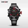 New year 2014 hot sale brand new WEIDE men LED Luminous analog digit dual time display Date Week Alarm sport watch WH2310