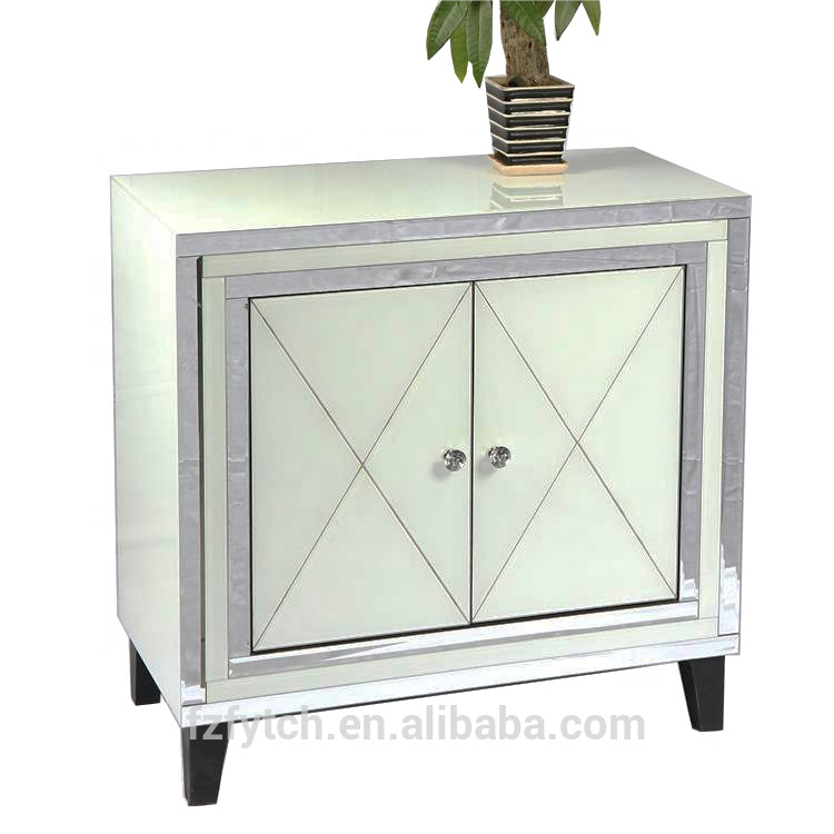 F57 Latest Design Living Room Furniture 2 Door White Gl Mirrored Cupboard