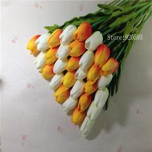 Бесплатная доставка, 31 шт./лот, искусственная кожа, мини тюльпан, настоящий свадебный букет, искусственные шелковые цветы для украшения дома...(Китай)