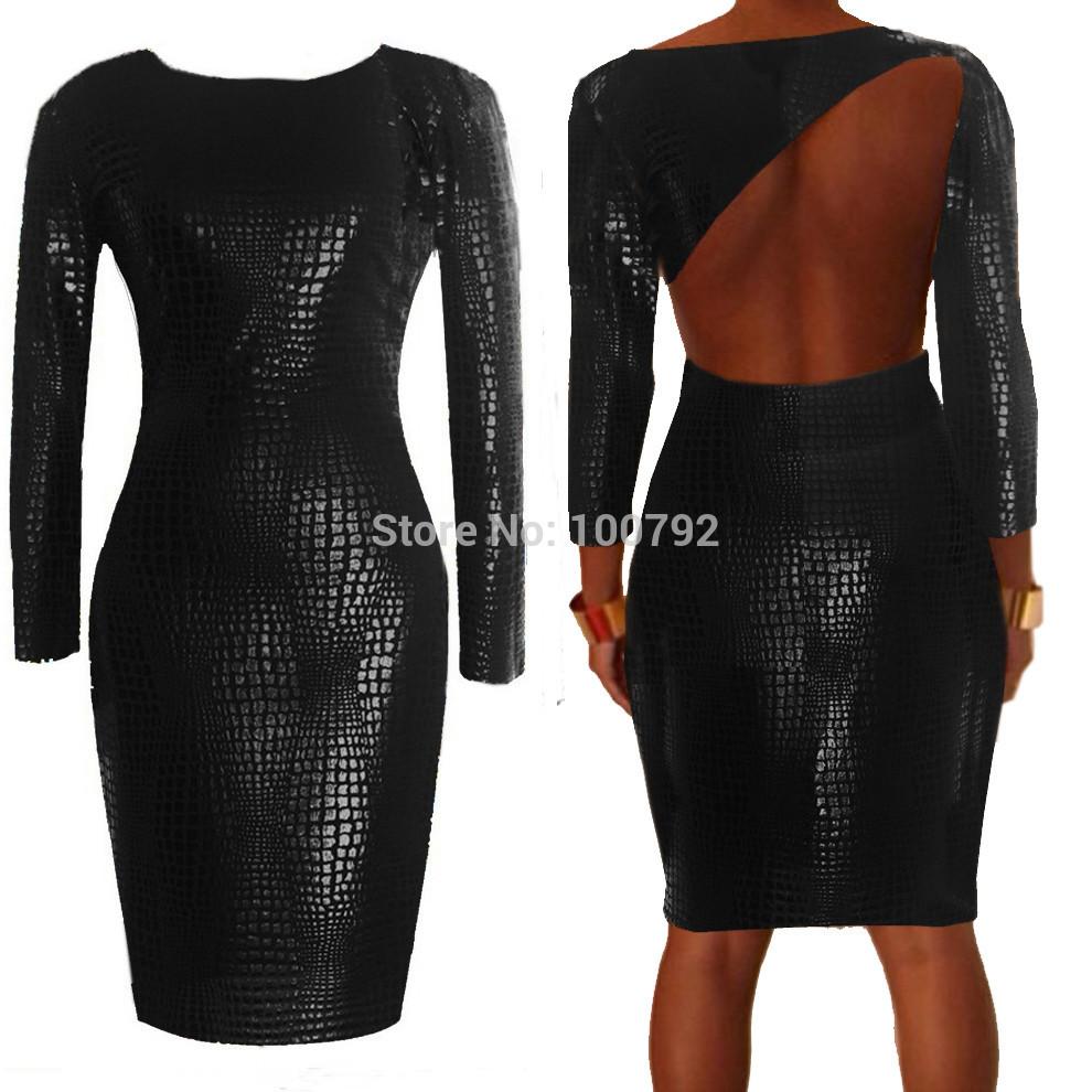 Plus Size Bbw Dress Women Clothing Sexy Black Snakeskin