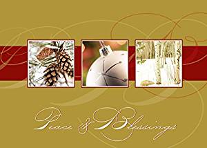 Holiday Greeting Cards - H8011. Greeting Cards with Images of Holiday Scenes. Box Set Has 25 Greeting Cards and 26 White with Gold Foil Lined Envelopes.