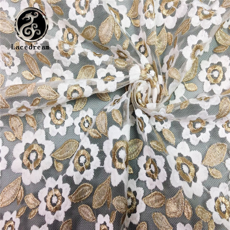 China Supplier Newest African White-gold Gown Fabrics Dress Making Lace Fabric