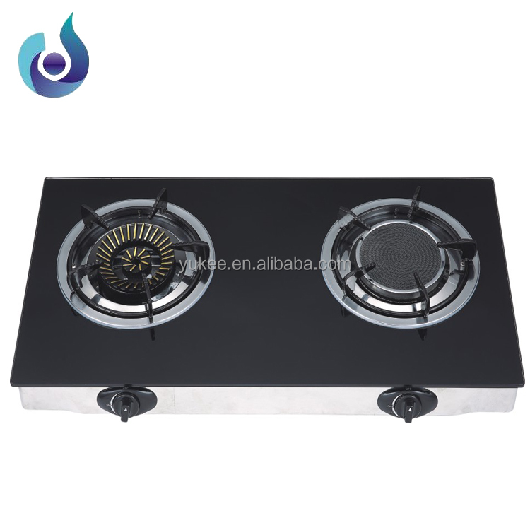 Hot sale tempered glass 2 burner gas stove/gas cooker/ gas cooktop YD-GSG216