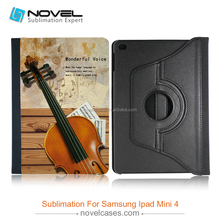 Factory price sublimation rotate leather case for ipad mini 4, sublimation wallet