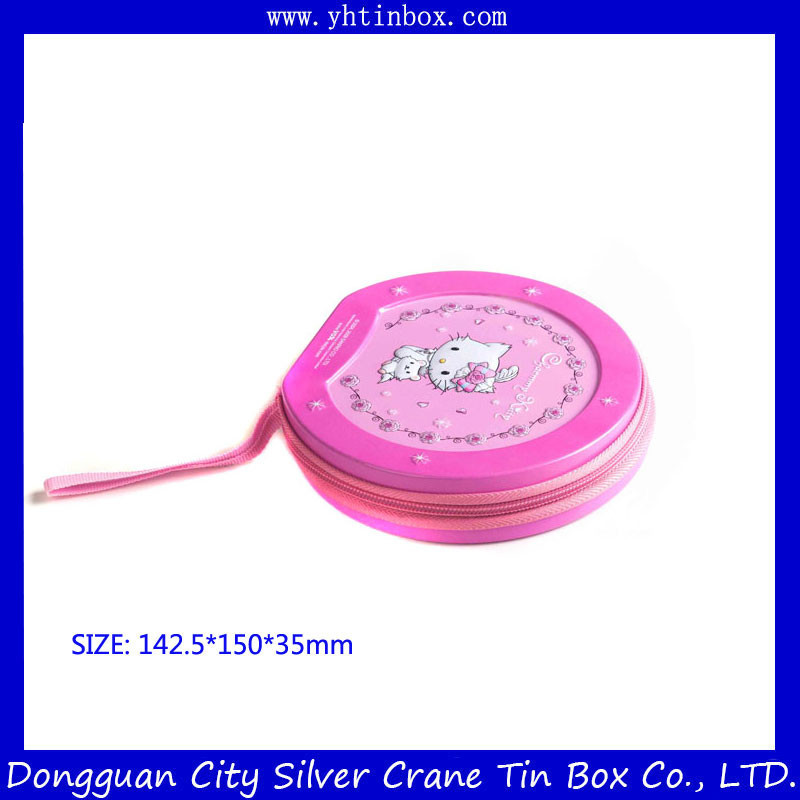 CD Tin Box with Zipper/Decorative CD Tin BOX