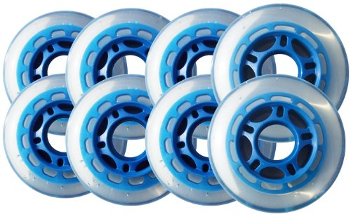 155a1f1fb72 Get Quotations · Player s Choice Roller Hockey Wheels HILO SET 72mm 76mm  80mm 78a Soft Blue Indoor Inline Skate