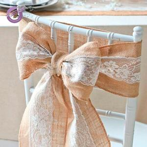 BS00041 Hot Sale Cheap Decoration Wedding lace burlap Chair cover Sashes