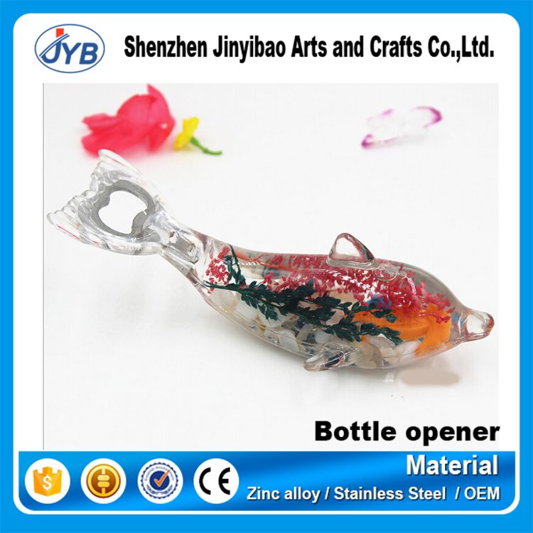 Beautiful decorative shell crystal dolphin bottle opener with fridge magnet