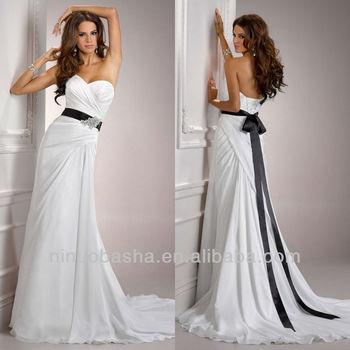 6c31ac9f Simple Sweetheart Chiffon Sheath Empire Pleat Beaded Brooch Black Sash Wedding  Dresses Bridal Gowns