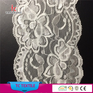 factory selling 9cm flower design lycra trim lace french lace LSHB315