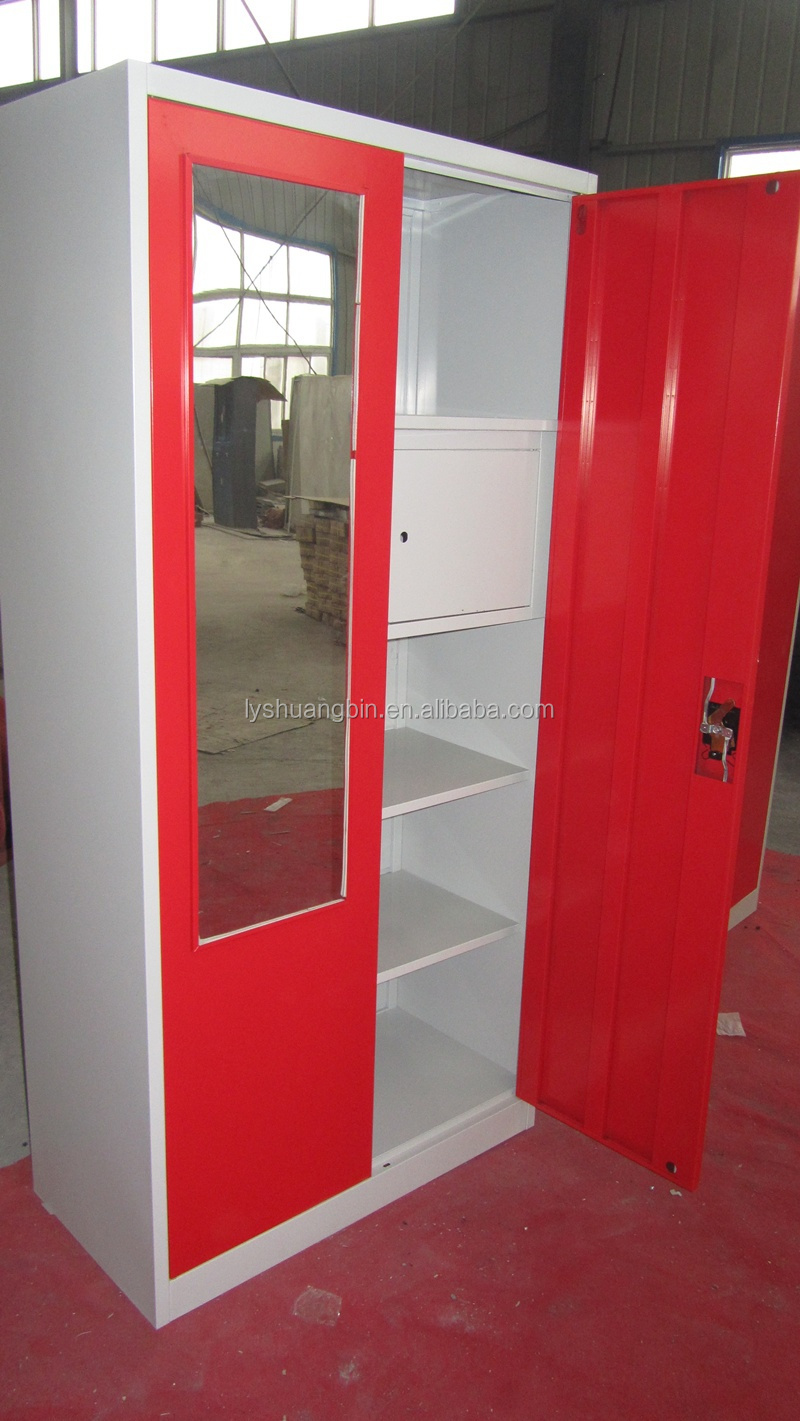 Mirror Cupboards Bedroom 2 Red Color Door Steel Armoire Wardrobe Cheap Modern Storage