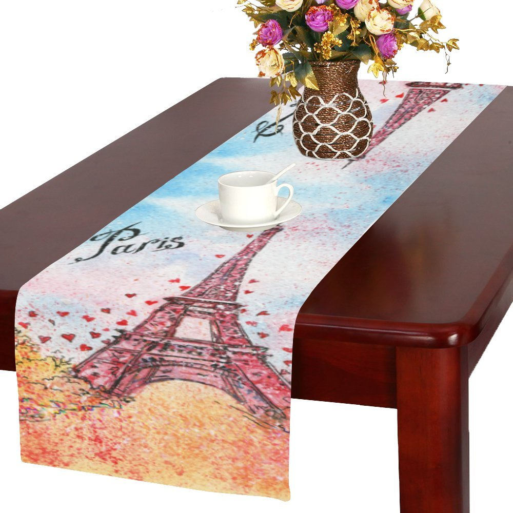 InterestPrint Vintage Eiffel Tower Polyester Fabric Table Runner Placemat 16 x 72 inch, Romantic France Paris Table Cloth for Office Kitchen Dining Wedding Party Home Decor