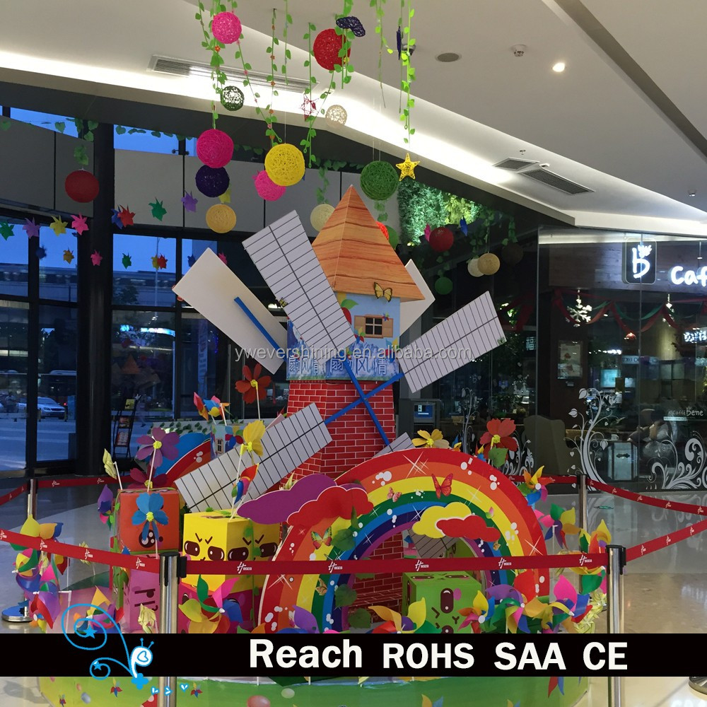 Customized colourful pinwheel with rattan ball for kids, popular holiday decoration