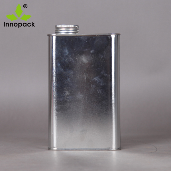 1L square / F-style oil tin can with screw top lid