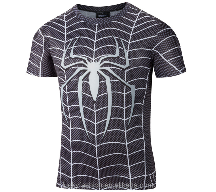Baiyimo custom t shirt printing wholesale 3D sublimation printed t-shirt Spider Men Design