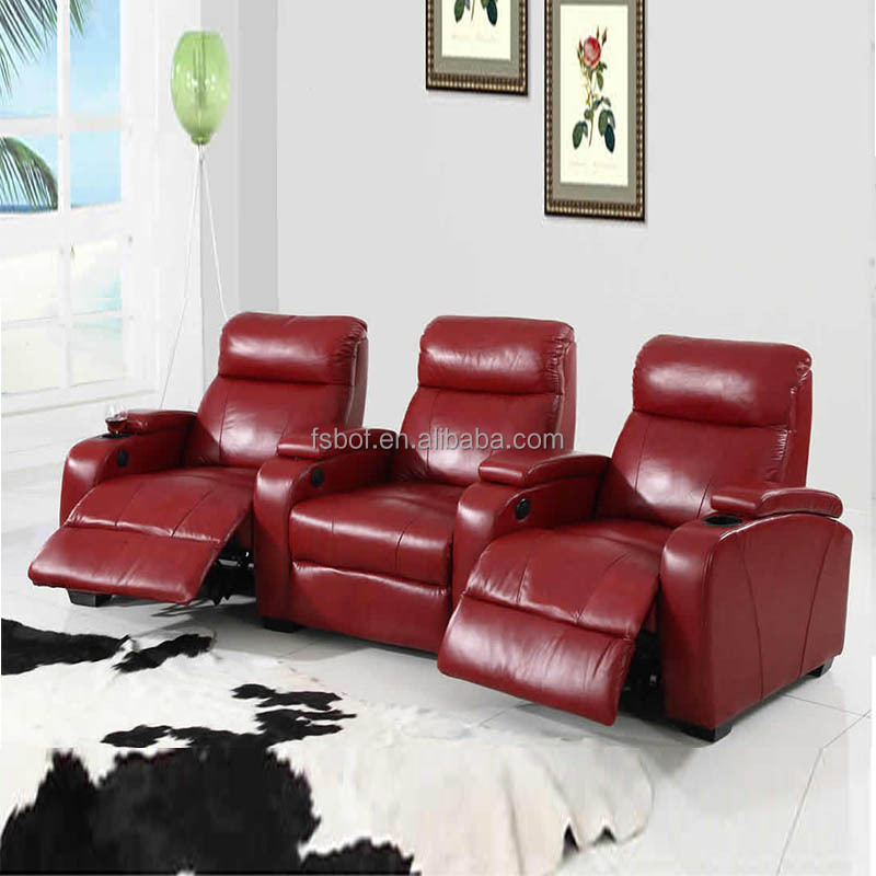 On Sale French Recliner Leather Sofa With Coffee Table Cup Holder