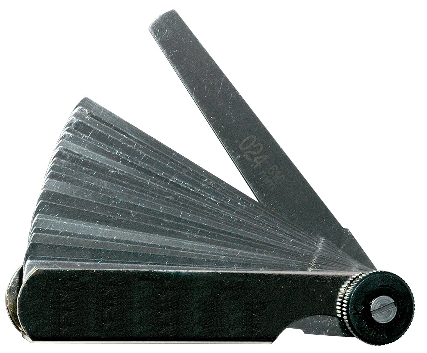 """Mitutoyo 950-252  Thickness Feeler Gage Set, 0.0015-0.025"""" Thickness, Tapered 3"""" Length, 26 Leaves"""