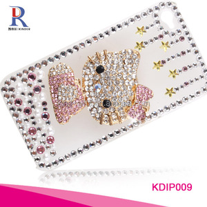 Pop lovely cartoon cat shining bling diamond funny funky cell mobile phone wallet case