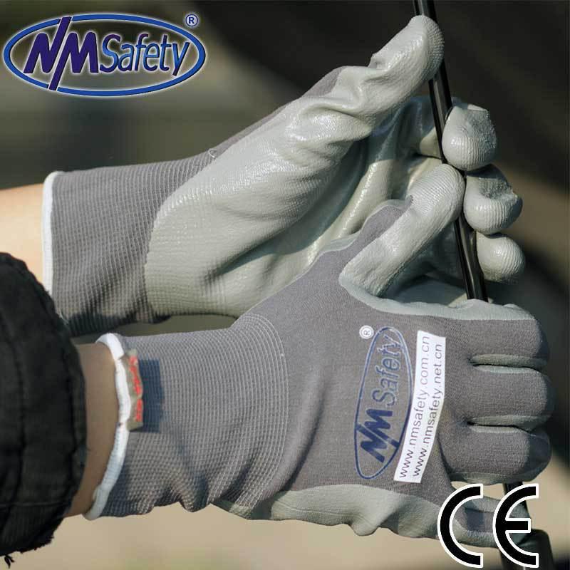 Nmsafety 13 калибра нейлон нитриловые воскотопка рабочие перчатки / нитрильного рабочие перчатки / нейлон трикотажные нитрильного пальмовое перчатки