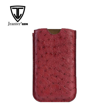 Fashion Ostrich Leather Cell Phone Pouch/Mobile Phone Pouch Smart Phone