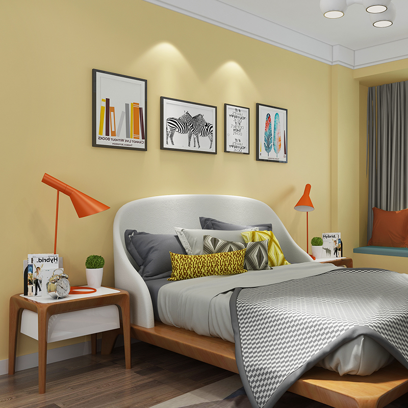 Fashion Bedroom Wall Decor Pvc Material Yellow Removable Wallpaper