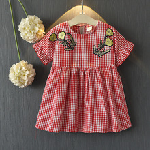 Korean New Product Kids Frock Designs Girls Daily Wear Red Plaid Dress
