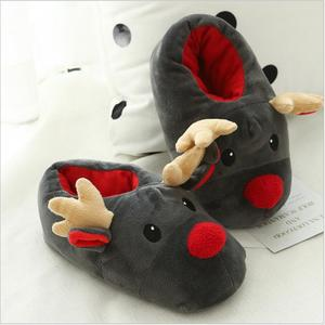 Factory custom fashion warm and velvet winter cartoon christmas Sika Deer Cotton-padded shoes