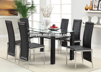 Brilliant Cheap Modern Black And White Leather Glass Dining Table Set 6 Chairs Buy Glass Dining Table Set Dining Table Set 6 Chairs Modern Dining Table Set Download Free Architecture Designs Scobabritishbridgeorg