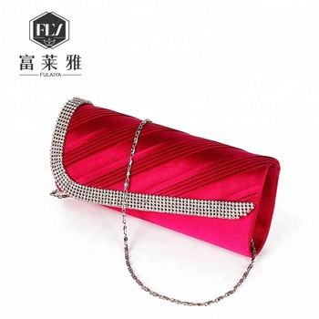 Luxury Rhinestone Red Wedding Handbags With Long Chain View Wedding