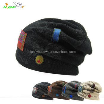 custom cashmere baby slouch jacquard weave pattern applique patch beanie hat  without pom pom acb423abc94