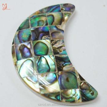 Hot sell gemstone abalone shell moon shape mosaic pendant jewelry hot sell gemstone abalone shell moon shape mosaic pendant jewelry abalone shell tile jewelry pendant aloadofball Image collections