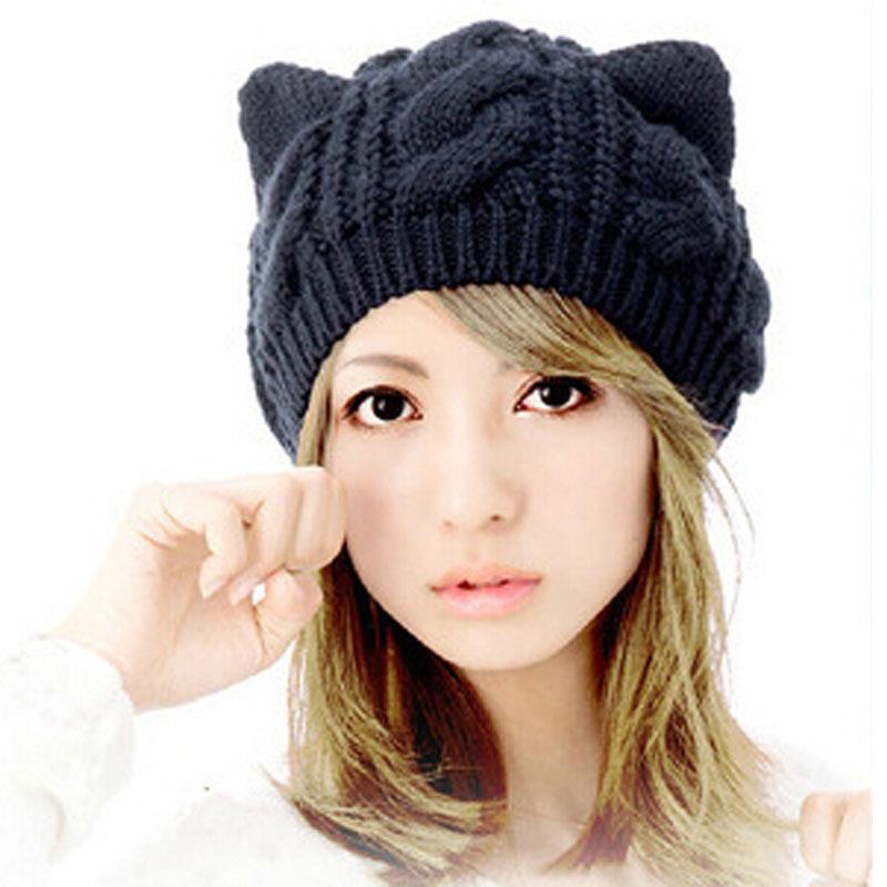 672ba2c277e Buy Fashion New Winter Wool Beanie Cap Girl Warm Devil Horns Hat With Cat  Ears Crochet Braided Knit Ski Hats for Women Beret MZ0561 in Cheap Price on  ...