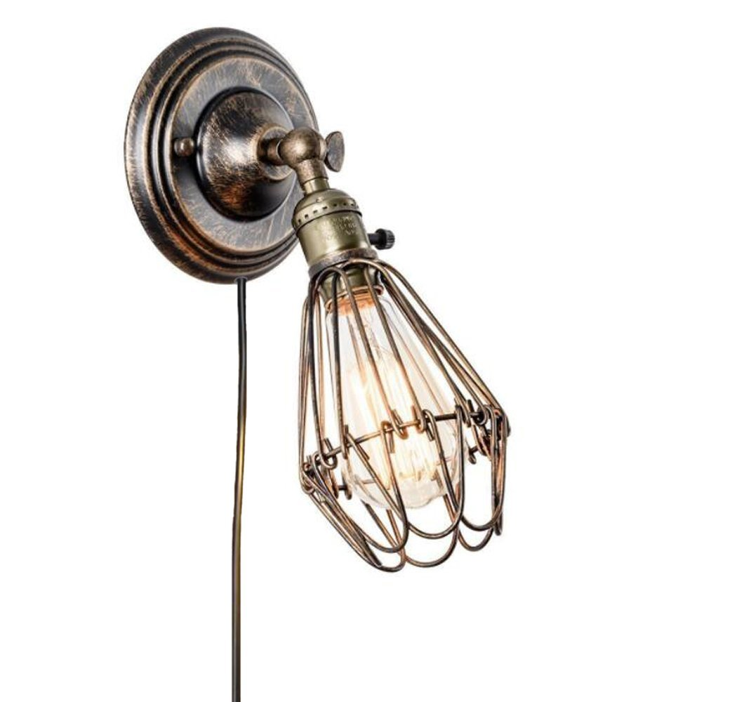 Kiven Vintage Wall Sconce 1 Light Fixture E26 UL Certification Plug-In Button Switch Cord Bronze Edison Cage Antique Style Wall Lamp Cage Wall light Shade For Bathroom Dining Room Kitchen Bedroom