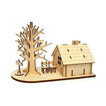 Good Quality Wooden House And Tree 3D Puzzle For Kids