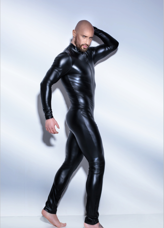latex catsuit men sexy black tight zipper full body leather catsuit