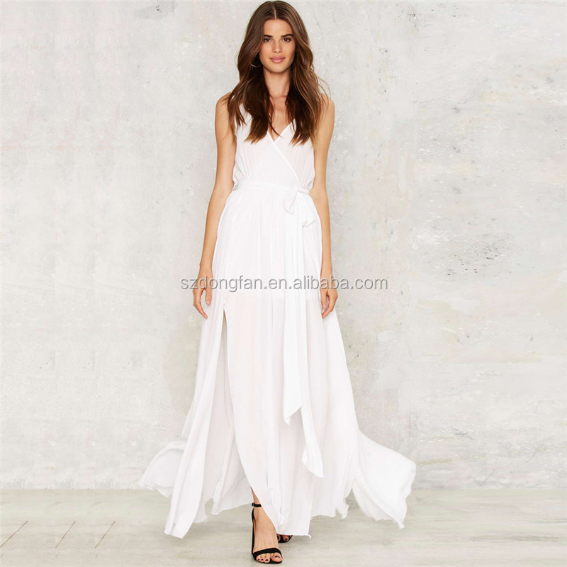 fa361335727 Elegant Long Dress Chiffon New Style Wedding Gown Cut Out Beach Dress White  Maxi Dresses Long