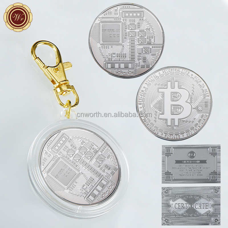 WR 1 oz 999 24k Silver Plated Bitcoin Challenge Coin Commemorative Silver Coin Metal Art Crafts with Key Ring for Souvenir