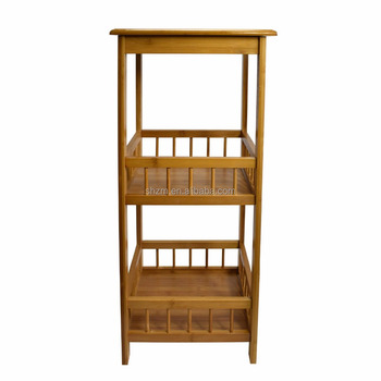 Square 3 Tier Bamboo Storage Shelf Flower Pot Plant Rack Basin Stand For  Bathroom Living Room