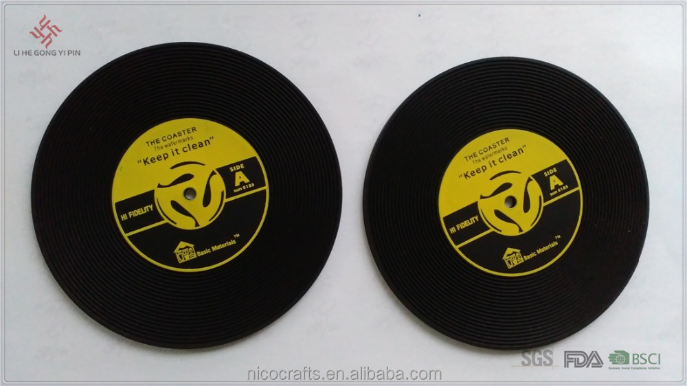 Customized promotional gifts vinyl record Soft PVC coaster