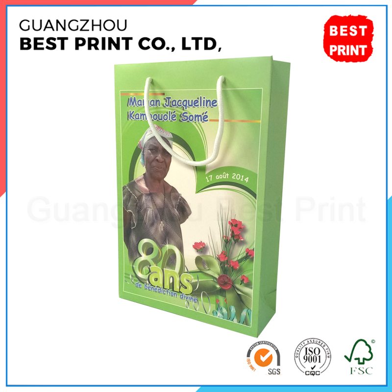African style custom ordered paper bag CMYK image printed coated paper packaging bags for flower
