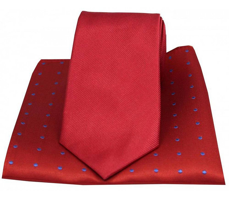 Red//Royal Blue David Van Hagen Mens Polka Dot Tie and Pocket Square Set