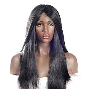 V'Nice® Yaki Straight Synthetic Lace Wigs Heat Resistant Fiber Synthetic Yaki Wigs Glueless Synthetic Lace Front Wig Natural Black Synthetic Hair (22 inches)