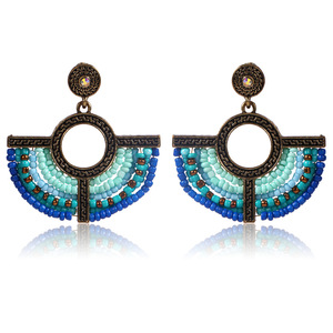 Wholesale Handmade Vintage Seedbead Metal Fan Shape Earrings