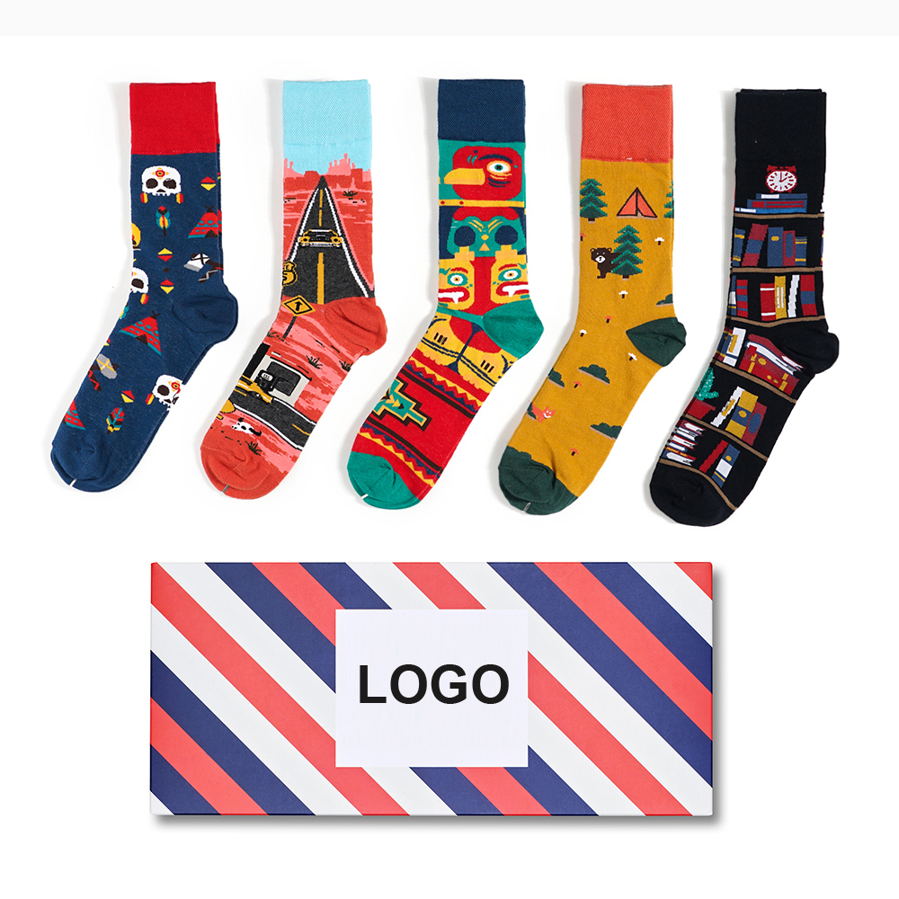Online hot selling happy design custom men socks wholesale mismatch crew sock for man