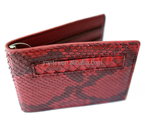 Jranter fashion Python Snake leather card wallet credit card holder with money clip