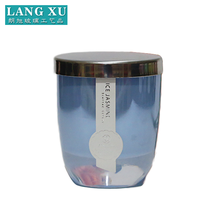 customize graceful pearl blue glass candle jar with lid