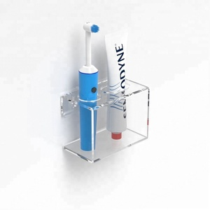 Custom wall mounted acrylic toothbrush display stand & Toothpaste holder / Bathroom Organiser